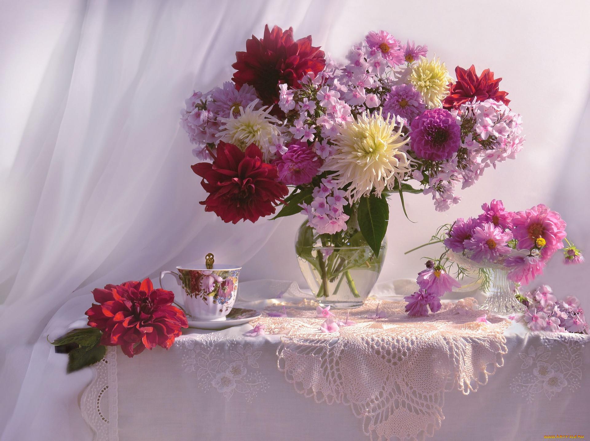 цветы, букеты,  композиции, флоксы, георгины